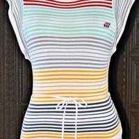 Vintage 1980s Stripe + Retro Belted Top