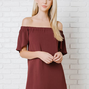 Avery Off-The-Shoulder Trapeze Dress