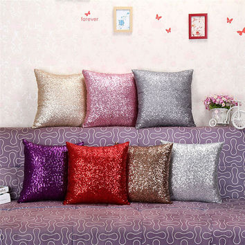 40cm*40cm Solid Color Glitter Sequins Throw Pillow Decorative Case Home Comfortable Decal living room Cushion