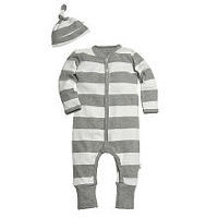 Burt's Bees Baby Boys Organic 2 Piece Grey/White Striped Snap Front Coverall with Matching Knot Hat