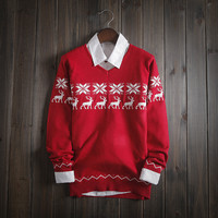 Men's Comfortable Christmas Deer Warm Winter Knit Sweater