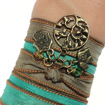 Hamsa Tree of Life Silk Wrap Bracelet Yoga Jewelry Elephant Protection Evil Eye Upper Arm Band Anklet Necklace Unique Gift Under 50 Item V39
