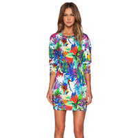 Long Sleeve Tropical Plant & Parrot Print Dress