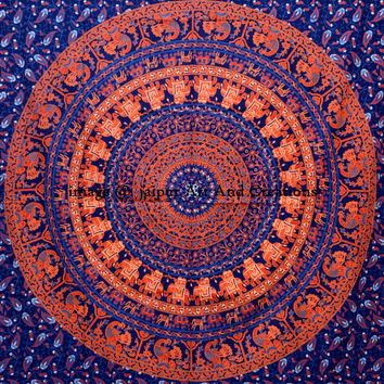 Twin Indian Mandala Tapestry Hippie Hippy Wall Hanging Throw Bedspread Dorm Tapestry Decorative Wall Hanging , Picnic Beach Sheet Coverlet