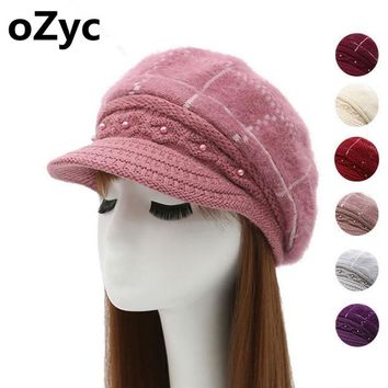 2017 NEW winter Women beret hat knitted wool angora beret The classic grid of mink flower decoration cap Double warm hat
