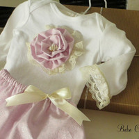 shabby chic baby girls pink sparkle Onesuit shirt and lace & pearl skirt outfit