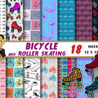 Bicycle digital paper, roller skate clipart, skateboard, rollerskating, roller derby, skate, Scrapbooking paper, backgrounds, patterns