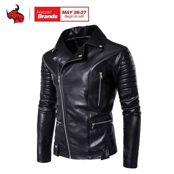 Trendy Spring Autumn Fashion Motorcycle Jackets PU Leather Moto Jackets Men Slash Zipper Lapel Biker Rider Faux Leather Coat AT_94_13