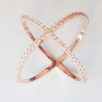 X Ring - Cross X Rİng - Pave X Ring - Rose Gold X Ring - CZ X Ring - Trendy Jewelry - Rose Gold Ring - Gold X Ring