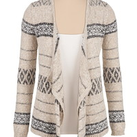 Pattern draped open front cardigan