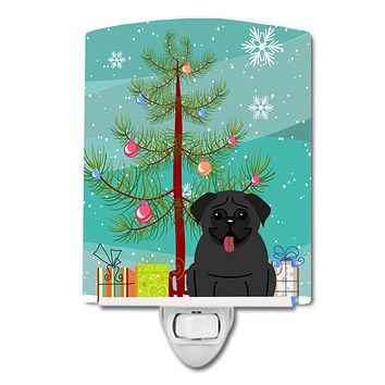 Merry Christmas Tree Pug Black Ceramic Night Light BB4131CNL