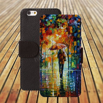 Oil painting the night rain iphone 5/ 5s iphone 4/ 4s iPhone 6 6 Plus iphone 5C Wallet Case , iPhone 5 Case, Cover, Cases colorful pattern L055