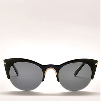 Exposed Cat Eye Half Frame Sunglasses in Black by Cheap Monday | Edge of Urge