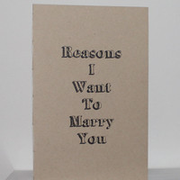 Reasons I Want To Marry You Booklet * Large Size With Envelope