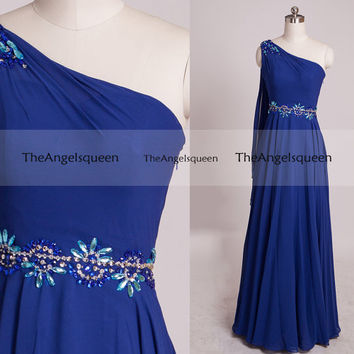 Royal Blue One Shoulder Beading Prom Dresses,long prom dresses,prom dresses,prom dress,prom dresses long