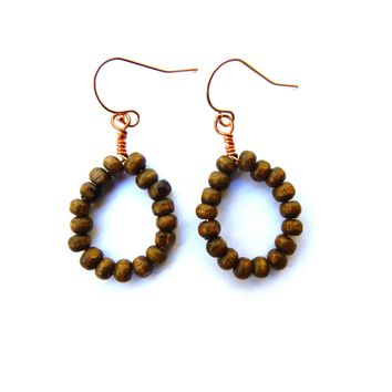 Wooden Drop Earrings, wrapped with copper and 14k rose gold filled ear wires