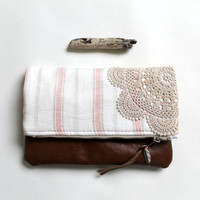 Fold over clutch, linen and leather OOAK