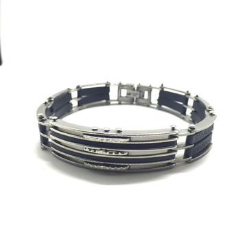 ZipSteelCo. Men's Stainless Steel and Black Rubber Link Bracelet