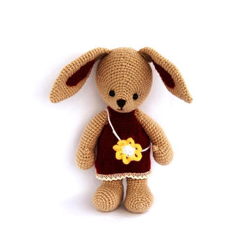 burgundy rabbit, crocheted bunny, stuffed beige rabbit with elegant dress, girl bunny, amigurumi bunny Easter gift, toy for children, rabbit