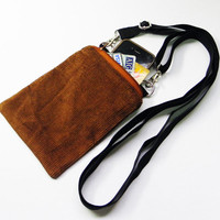 Small Brown Corduroy Bag,Iphone Bag,Cellphone Bag,Zipper Purse,Crossbody Bag,Messenger Bag,Shoulder Bag Gift For Her,Him,Boy,Girls,Men,Women