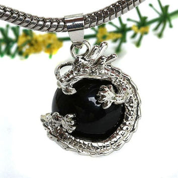 Punk Gems Dragon Wrap Inlaid Ball Charm Pendant Bead For Necklace Fashion Jewelry J4U66