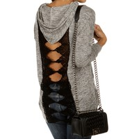 Sale-black Crochet Back Hooded Sweatshirt