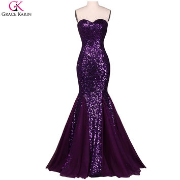 Evening Dresses Purple Dresses Sweetheart Sequin Tulle Pageant Gown Vestido Formal Engagement Mermaid Evening Dress
