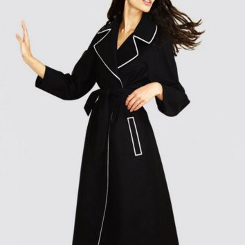 Fall new classic suit to receive the waist long - sleeved long section of fashion coat female windbreaker