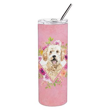 Goldendoodle Pink Flowers Double Walled Stainless Steel 20 oz Skinny Tumbler CK4236TBL20
