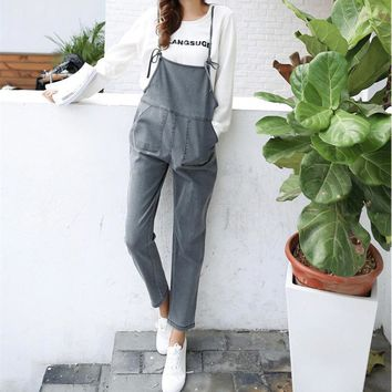 Simple Casual High Waist Jeans Backless Back Strap Denim Trousers Romper Jumpsuit