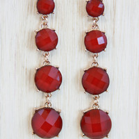 Ruby Red 4-Piece Dropdown Earrings - Earrings