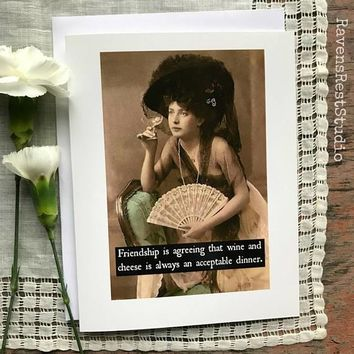 Friendship is Agreeing That Wine And Cheese Is An Acceptable Dinner Funny Vintage Style Happy Birthday Card Friends Birthday Greeting Card FREE SHIPPING