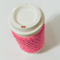 Bright Pink, crochet cup cozy, crochet cup cozies, coffee cup cover, coffee sleeves, Christmas, crochet cozy, tea cup cozy, cup cozy