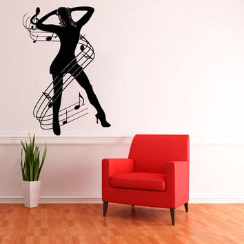Wall decal decor decals sticker art vnyl design note girl sound music club bedroom Play Electro house Office Lounge Living room dorm (m1215)