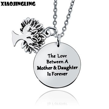 XIAOJINGLING Charm Tree Necklaces & Pendants Birthday Gifts The Love Between A Mother & Daughter Is Forever Girl Women Necklace