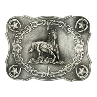 Scalloped Running Horse Classic Antiqued Attitude Belt Buckle (61000)