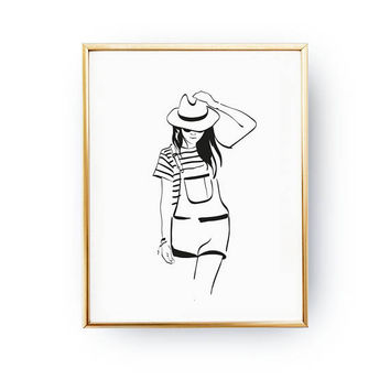 Dungarees Print, Illustration Poster, Country Style Outfit, Fashion Poster, Fashion Illustration, Girls Room Decor, Fancy Outfit, Hat Poster