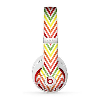 The Yellow & Red Vintage Chevron Pattern Skin for the Beats by Dre Studio (2013+ Version) Headphones