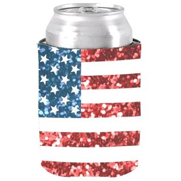 Customized United States of America USA Flag Sparkle Can Cooler Fashion Neoprene Beer Can Cooler Holder Wedding Gifts and Decor