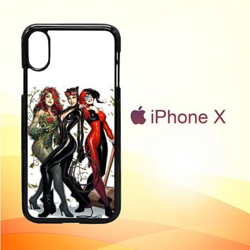 Poison Ivy Harley Quinn,Batgirl And Catwoman  Z0225 iPhone X Case