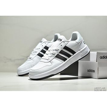 ADIDAS HOOPS 2.0 2019 new casual low men and women sports shoes white+black
