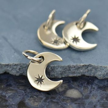 Tiny Crescent Moon Charm with Twinkling Star