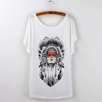 Blusa Limited Real Indian 2017 Female T-shirt Summer Tops Clothing Sleeve Graphic Tee Shirt Femme Tumblr Tshirt Women Free Size