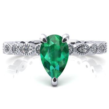 Lizette Pear Emerald 3 Claw Prong 3/4 Eternity Milgrain Diamond Shank Engagement Ring