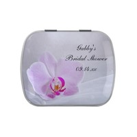 Pink Orchid and Veil Bridal Shower Favor Candy Tin