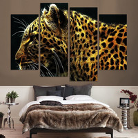Home Decor Picture 4 Panel Leopard Pictures Oil Painting Wall Decor Canvas Pop Art Modular picture(Unframed)