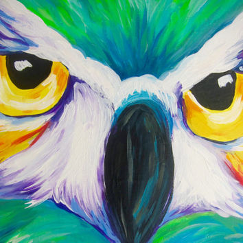 COLORFUL OWL PAINTING - original acrylic painting by Sofia, owl wall decor, nature art, bird art, home decor