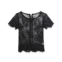 Short Sleeve Hollow Out Lace Back Zipper Tops