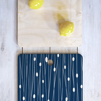 Heather Dutton Navy Entangled Cutting Board Square
