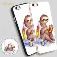 Minason Cozy Sloth Mobile Phone Shell Soft TPU Silicone Case Cover for iPhone X 8 5 SE 5S 6 6S 7 Plus